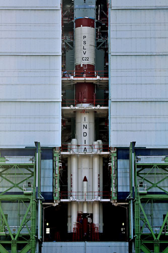 10 PSLV-C22 ASSEMBLED UPTO SECOND STAGE INSIDE MOBILE SERVICE TOWER